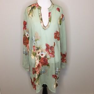 Soft Surroundings Sheer Floral Tunic | 1X